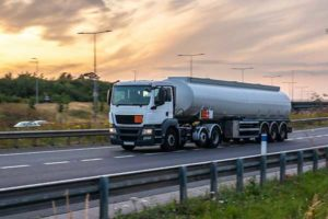 Fuel truck driving on highway